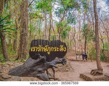 Loei/thailand-16 Feb 2019:unacquainted People Trekking To The Top Of The Phu Kradueng Mountain Natio