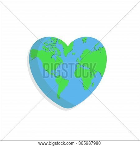 Love Earth. Earth Environment Icon. Earth In Heart Shape. Earth Day Vector. Earth Day Icon Vector. E