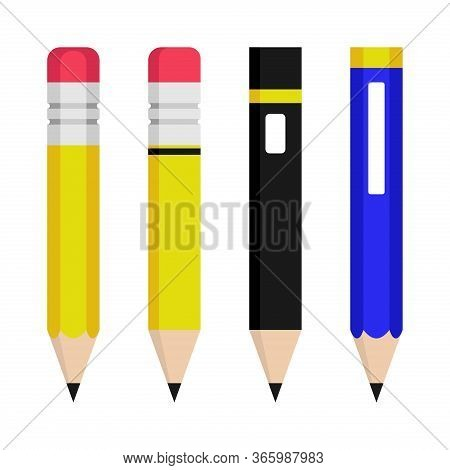 Pencil Vector Set Flat Color On White Background. Pencil Icon. Pencil Color Vector. Pencil Collectio