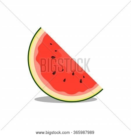 Watermelon Slice Icon. Watermelon Fruit Icon Vector Flat Illustration For Graphic And Web Design Iso