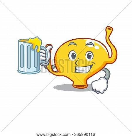A Cartoon Concept Of Bladder Rise Up A Glass Of Beer