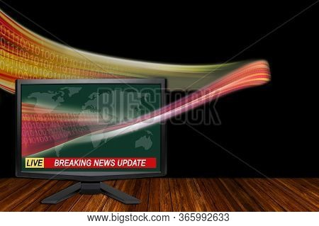 3d Rendering Of Technology Breaking News Concept With Tv Monitor Showing A Wave Of Information Data