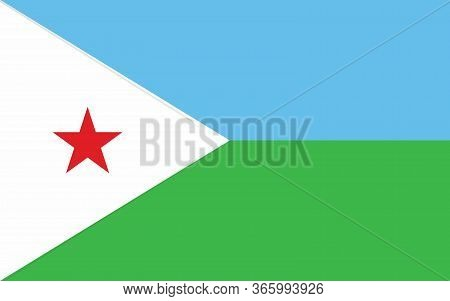 Djibouti Flag Vector Graphic. Rectangle Djiboutian Flag Illustration. Djibouti Country Flag Is A Sym