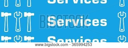 Services Text Written Over Blue Background With Symbols.