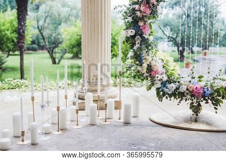 Wedding Decorations With A Lot Of White Candles