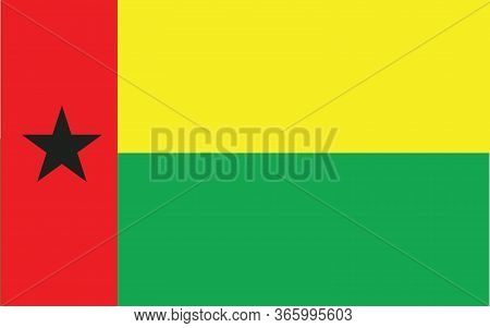 Guinea Bissau Flag Vector Graphic. Rectangle Guinean Flag Illustration. Guinea Bissau Country Flag I