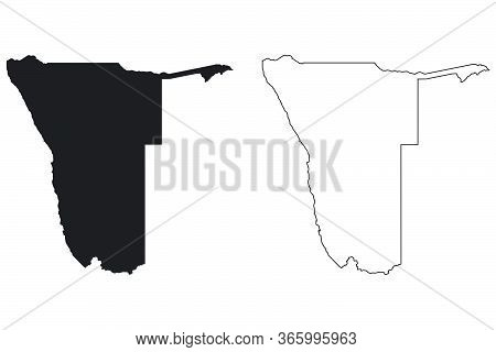 Namibia Country Map. Black Silhouette And Outline Isolated On White Background. Eps Vector