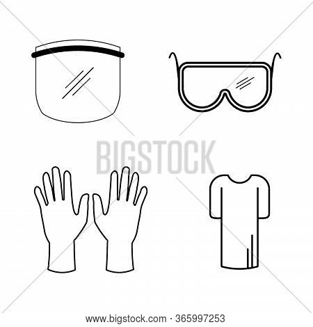 Personal Protective Equipment Ppe Set. Various Ppe For Covid-19. Face Shield Eye Goggles Gloves Gown