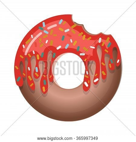Glazed Donut With Cream Isolated On A White Background. Cute, Colorful And Glossy Donuts With Pink I