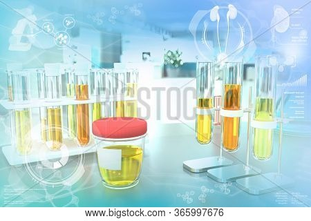 Test Tubes In Modern Pharmaceutical University Office - Urine Quality Test For Yeast Or Urinary Trac