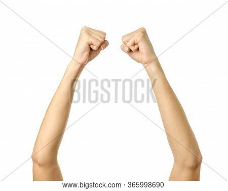 Raised Hands. Woman Hand With French Manicure Gesturing Isolated On White Background. Part Of Series