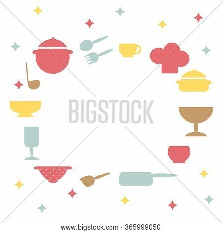 Cooking Food Frame Template For Food With Cutlery, Kitchen Accessories. Hand-drawn Cutlery. Space Fo