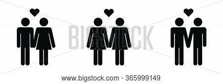 Couple Stick Figure Icon Set. Heterosexual Homosexual Straight Lgbtq. Eps Vector