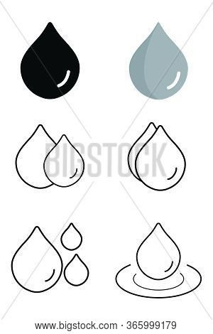 Water Droplet Icon. A Set Of Six Water Droplets Designs Isolated On A White Background. Eps Vector