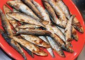 heap of small fried fish on red plate poster