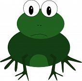 Cartoon illustration of cute green frog staring poster