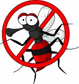 vector illustration of stop mosquito cartoon isolated poster
