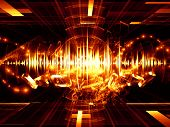 Artistic background for use with projects on music sound equipment and processing audio performance and entertainment made of player controls fractal grids lights wave and sine patterns poster