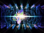 Abstract design made of musical notes perspective fractal grids lights wave and sine patterns on the subject of music sound equipment and processing audio performance and entertainment poster