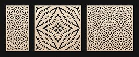 Laser Cut Pattern. Vector Stencil With Abstract Geometric Grid, Ornament In Asian Style. Decorative