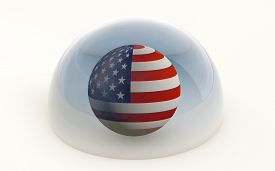 3d Rendering Of The United States Flag Protected Under A Glass Dome Isolated On White
