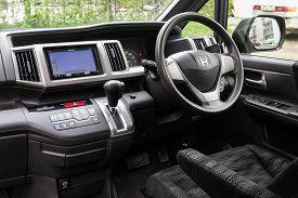 Novosibirsk/ Russia - May 02 2020: Honda Stepwagon, Dark Car Interior - Steering Wheel, Shift Lever