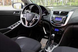 Novosibirsk/ Russia - May 02 2020: Hyundai Solaris, Dark Car Interior - Steering Wheel, Shift Lever