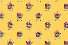 Seamless Pattern. Shopping Cart With School Stationery On A Yellow Background. Back To School Concep