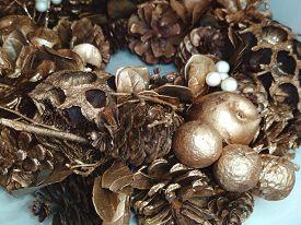 Christmas Xmas New Year Holiday Golden Bronze Wreath Photo