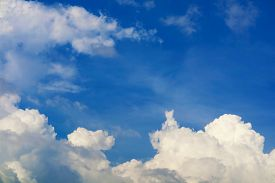 Pure And Clear Blue Sky White Cloud And Sunlight Shiny On A Day