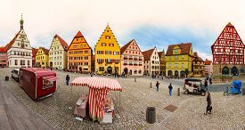 Rothenburg Ob Der Tauber, Germany - September 24, 2014: View On Central City Square With Old Houses