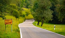 Rural Road In Germany From Bettwar To Rothenburg Ob Der Tauber, Bavaria, Germany, Europe. Car Travel