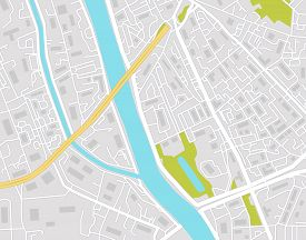 Vector Map Of City Street On Gray Background. Graphic Urban Town For Gps Navigation. Simple Abstract