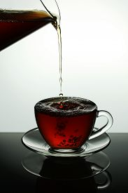 Black Tea In A Glass Cup With Place For Text