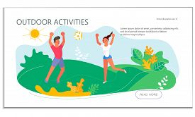 Landing Web Page Template With Summer Outdoor Activity Volleyball. People Playing Volleyball On The