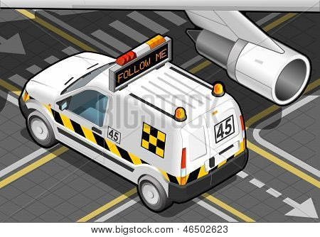 Isometric Airport Follow Me Car In Rear View