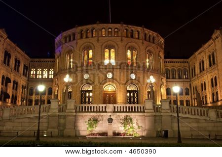 Stortinget Parliament building in Oslo Norway. Night view poster