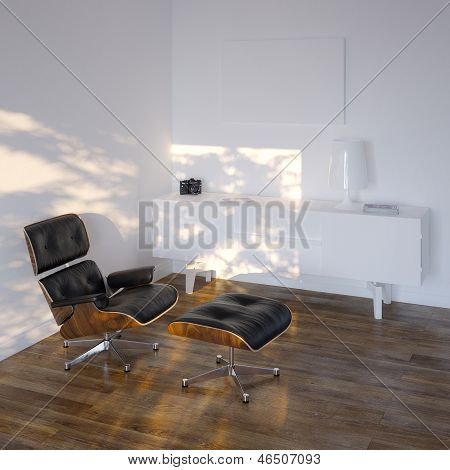 White Lounge Room In Minimalistic Style