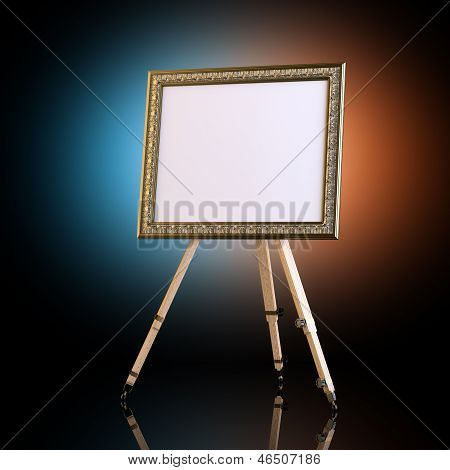 Easel With Carved Picture Frame On Artistic Background
