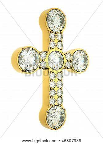 Religion And Fashion: Golden Cross With Diamonds Isolated