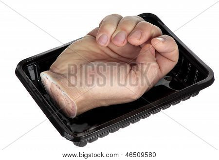 A hand in a tray could be offered to cannibals or used to showcase punishment for stealing. poster
