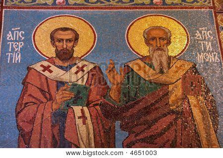 Apostles Mosaic In Russian Orthodox Church, Petersburg