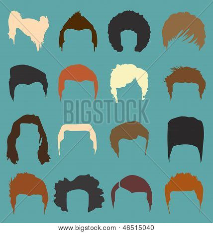 Vector Set: Male Hair Styles in Color