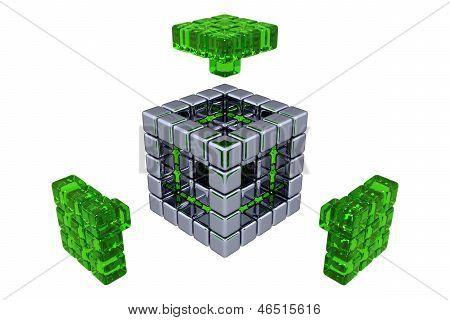 3D Cubes - Assembling Parts - Green Glass