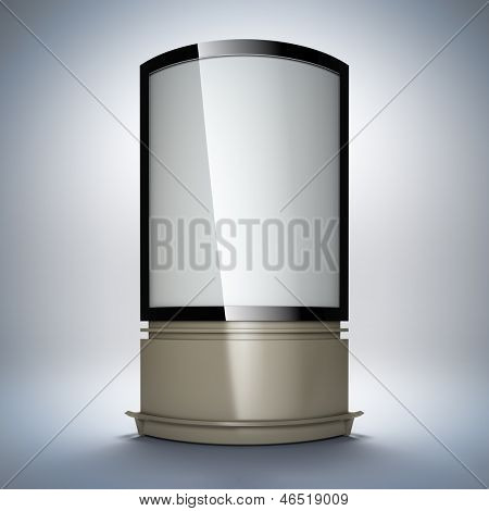 Vertical empty billboard. A 3d illustration blank template layout of curved advertising stand.