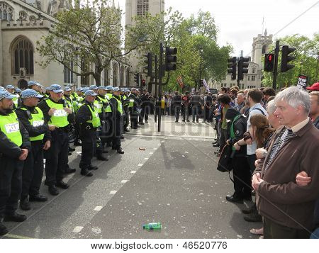 Anti Fascists Square Up Against Police During  The Bnp During A Bnp Protest In Londons Westminster 1