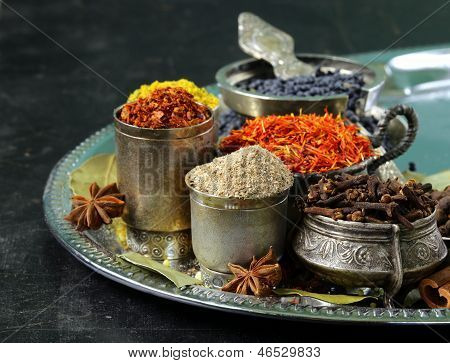 collection of various spices (paprika, turmeric, pepper, aniseed, cinnamon, saffron)