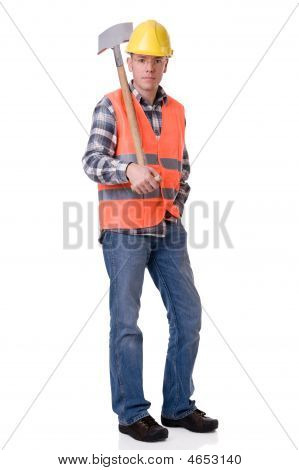 Construction Worker With A Spate