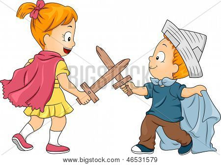 Illustration of Little Male and Female Siblings Playing Swordfight