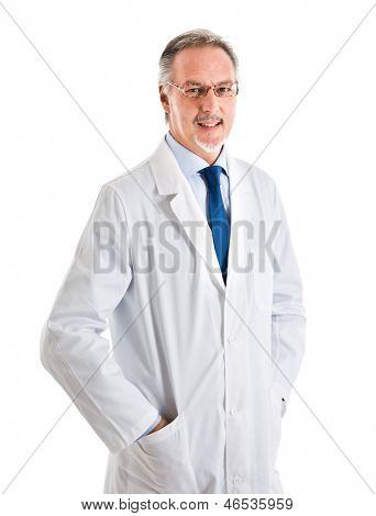 Portrait of an handsome medical worker. Isolated on white